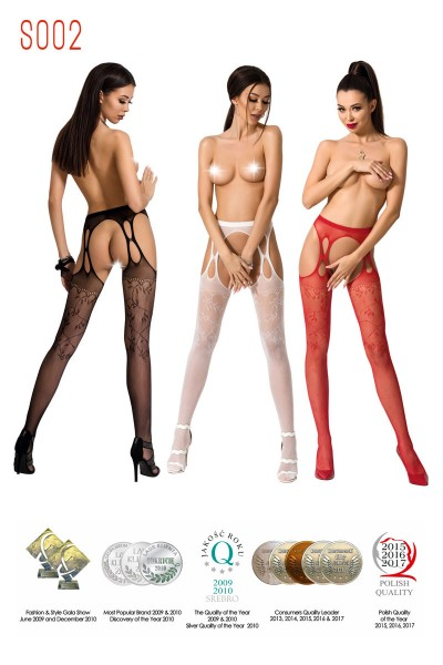 Pantyhose, garter effect, with embroidery.