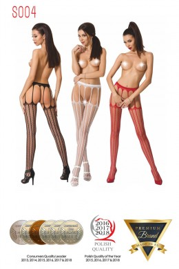 Fishnet tights with vertical stripes, garter effect.