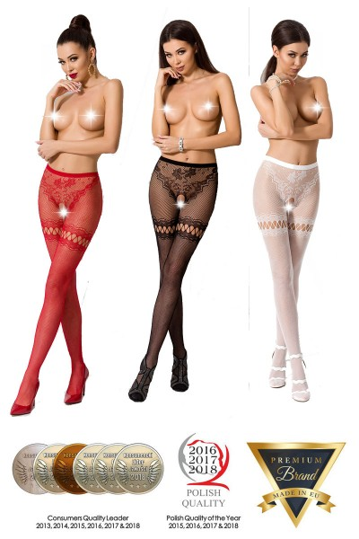Fishnet tights with garters design.