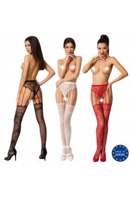 Fishnet pantyhose with panty + stockings effect.