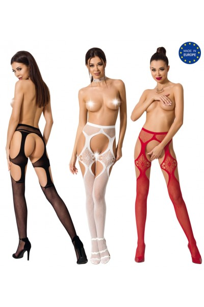 Fishnet tights with double openings.